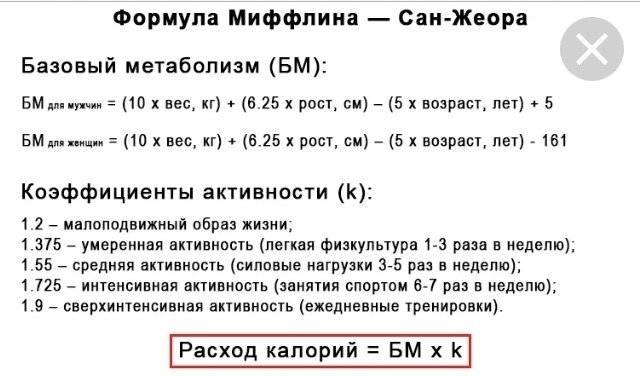 Формула расчета суточной нормы калорий