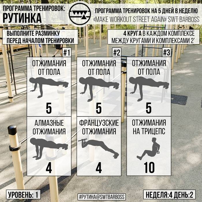 Программа тренировок на брусьях в таблицах для новичков: полное руководство на неделю/месяц