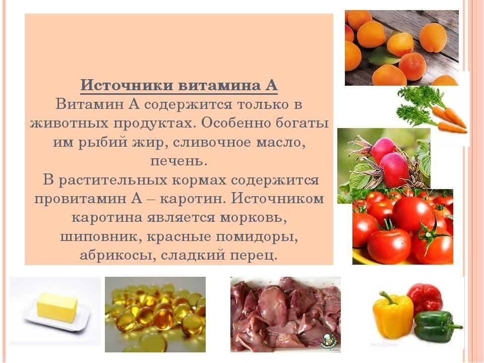 Таблица содержания витамина а в продуктах питания