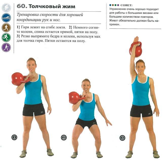 Упражнения с гирей, назначение, преимущества, техника выполнения