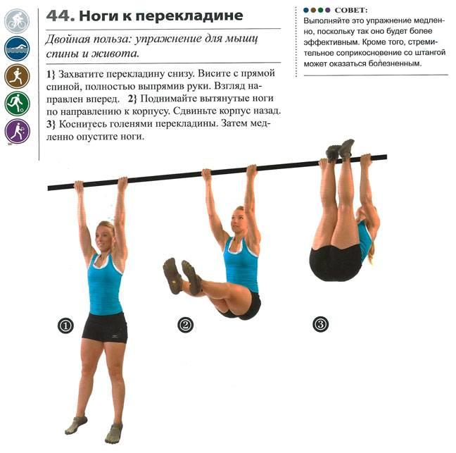 Упражнение 5 поднимание ног к перекладине