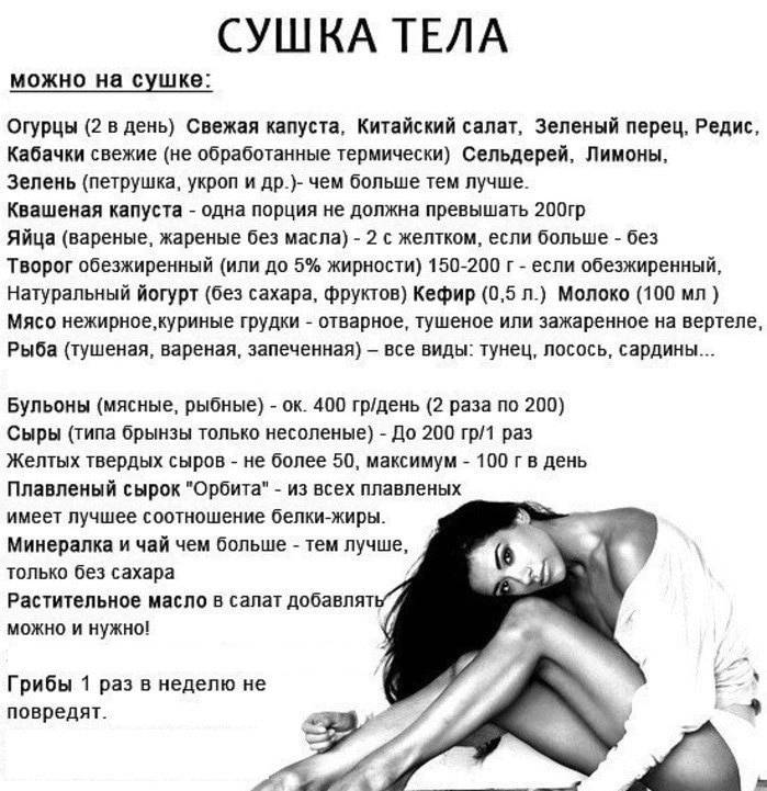 Список полезных продуктов для сушки тела девушкам и мужчинам
