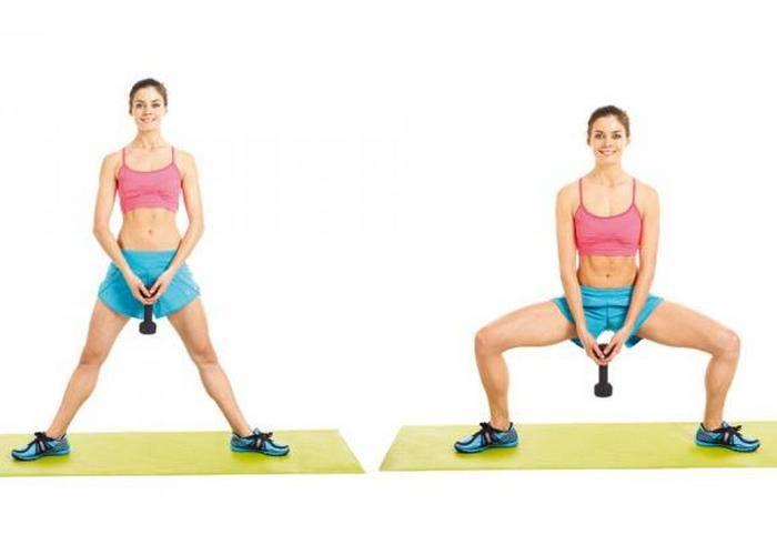 Приседания плие (сумо): 5 вариантов выполнения упражнения, техника выполнения, польза (приседание плие с гантелей и штангой)