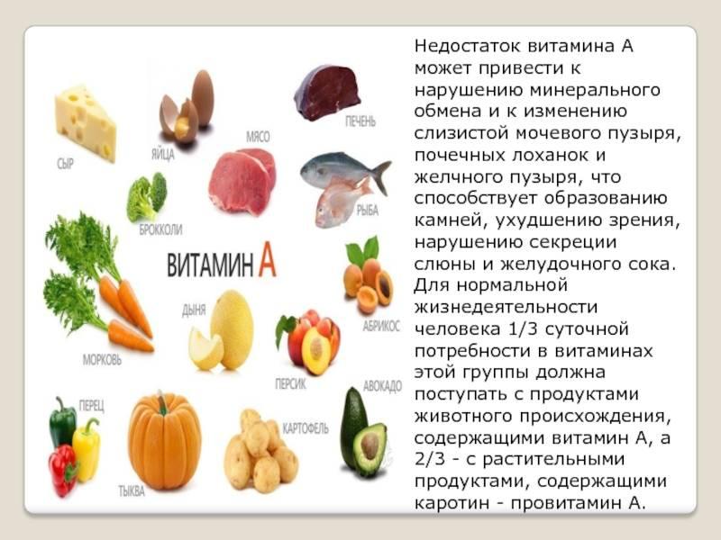В каких продуктах содержится витамин а: список продуктов