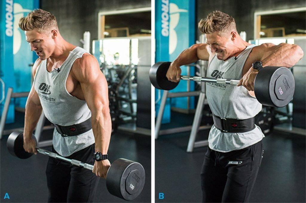 Тяга штанги к подбородку широким хватом: видео и фото упражнения