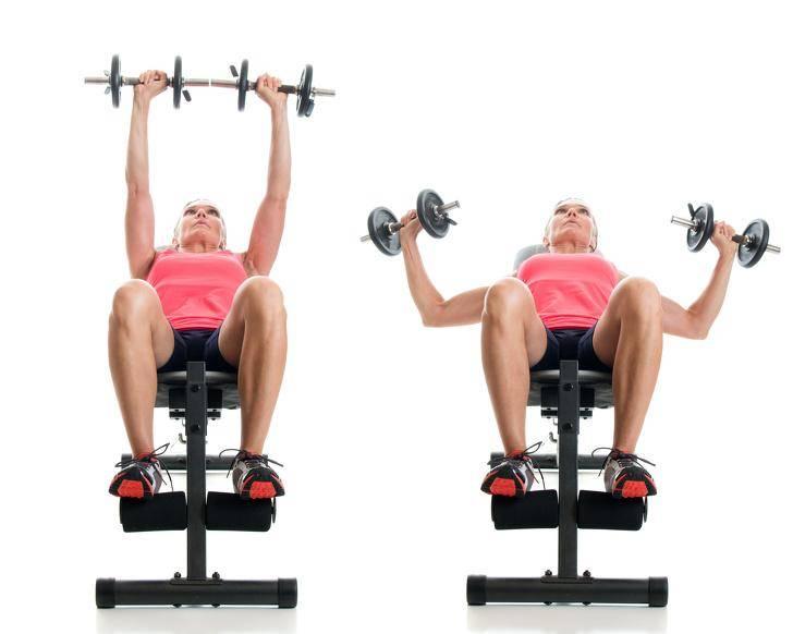 Жим гантелей лежа на наклонной скамье: описание и правильная техника упражнения