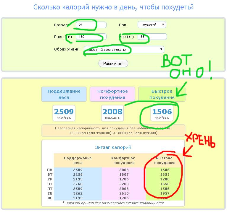 Суточная норма калорий для женщины с калькуляторами онлайн