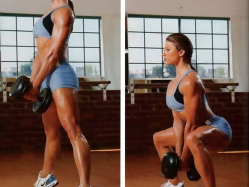 Упражнения на ягодицы и ноги с гантелями