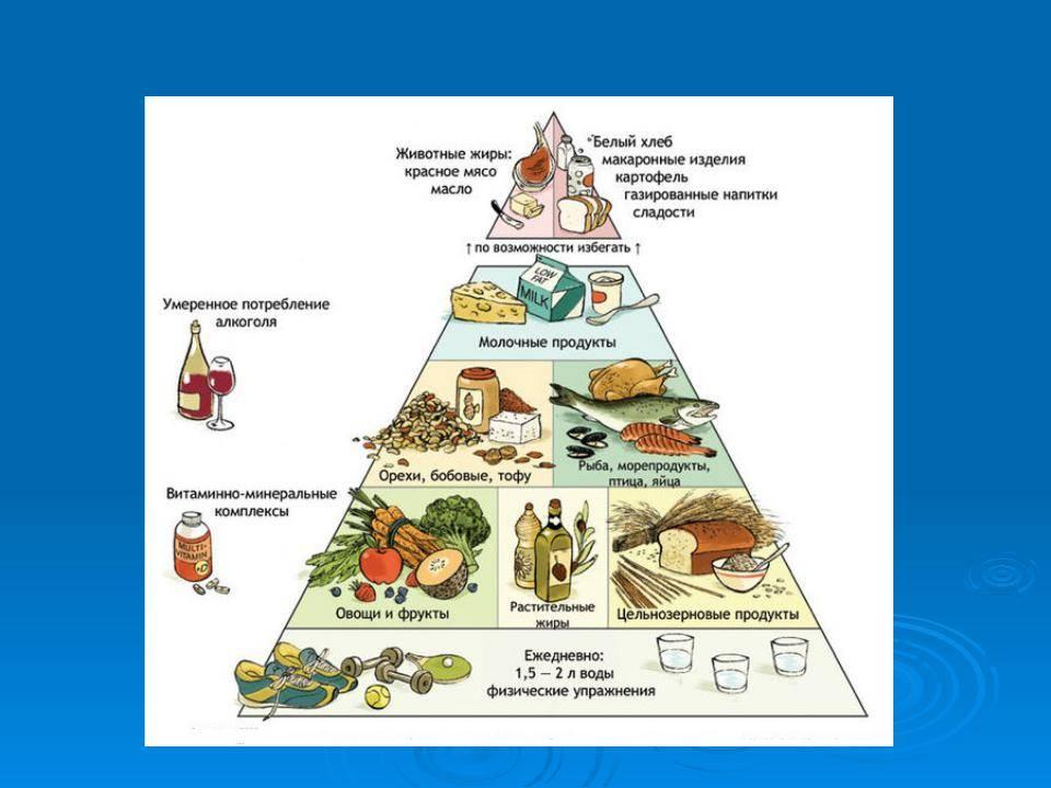 Пищевая пирамида правильного питания здорового человека