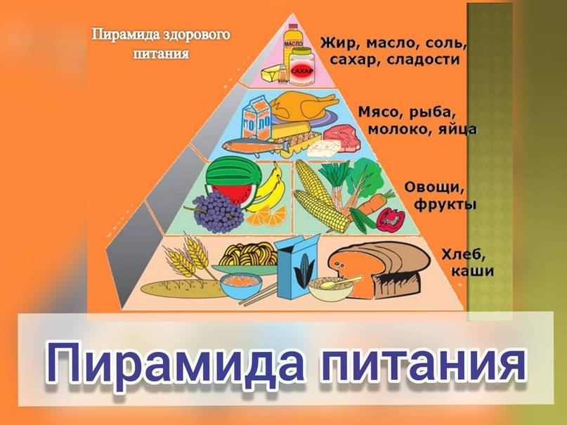 Пирамида здорового, правильного питания человека по полочкам