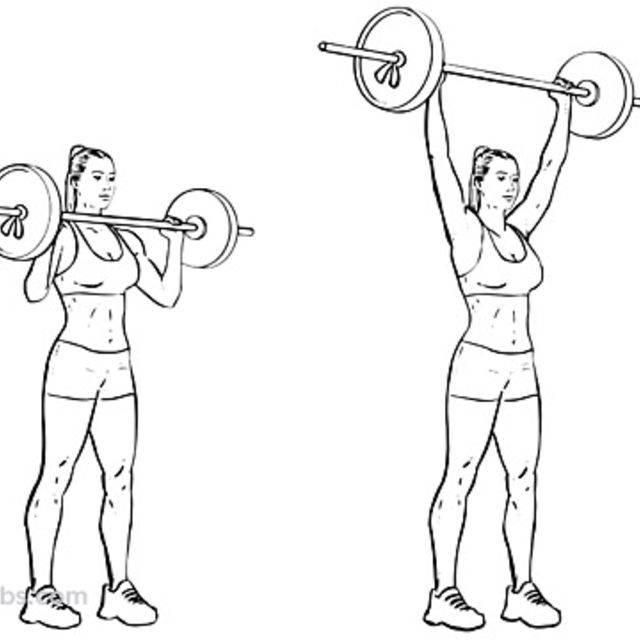 Жим штанги с груди стоя —упражнение для плеч. пошаговая техника
