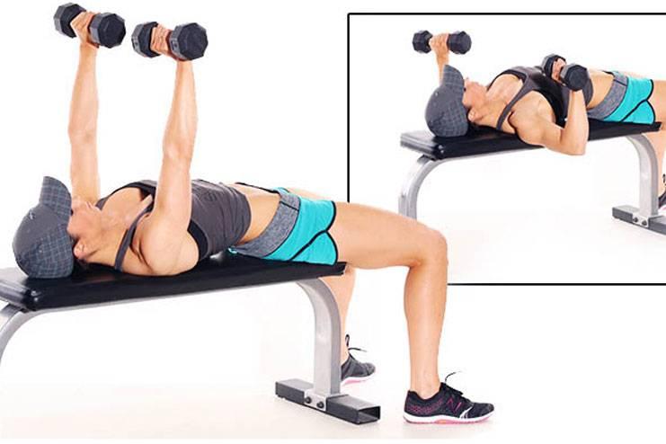 Жим гантелей лежа - классика для грудных мышц