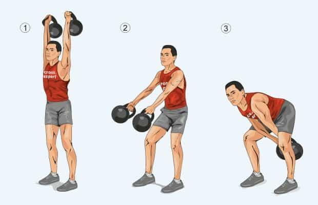 Как правильно делать махи гирей двумя руками
