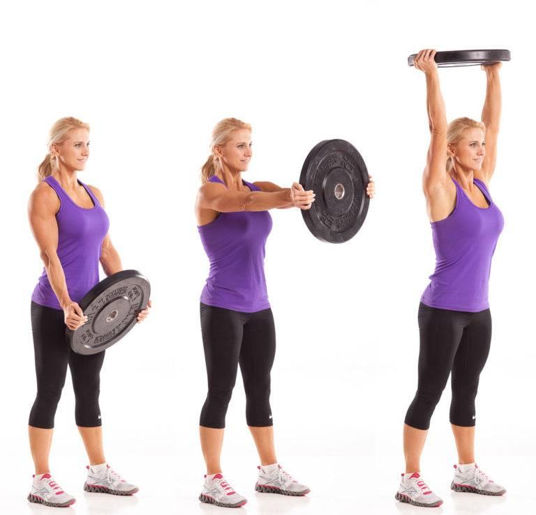 Выпады с блином над головой: техника выполнения упражнения