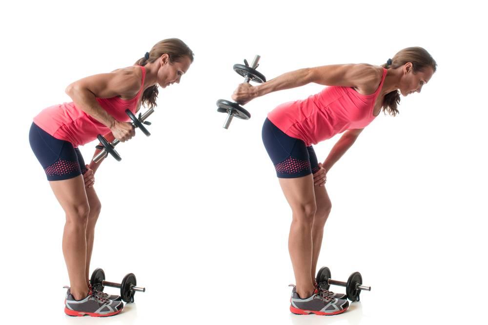 Разгибание рук в наклоне : видео и фото упражнения