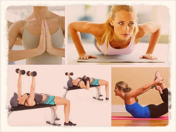 Физические упражнения для увеличения груди женщины