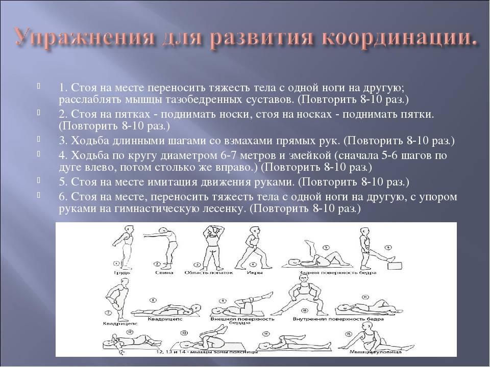 Комплекс упражнений на развитие координации движений