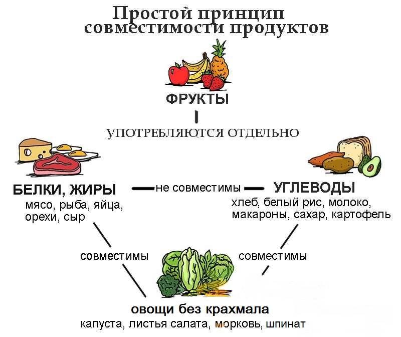 Совместимость продуктов для правильного питания: таблица