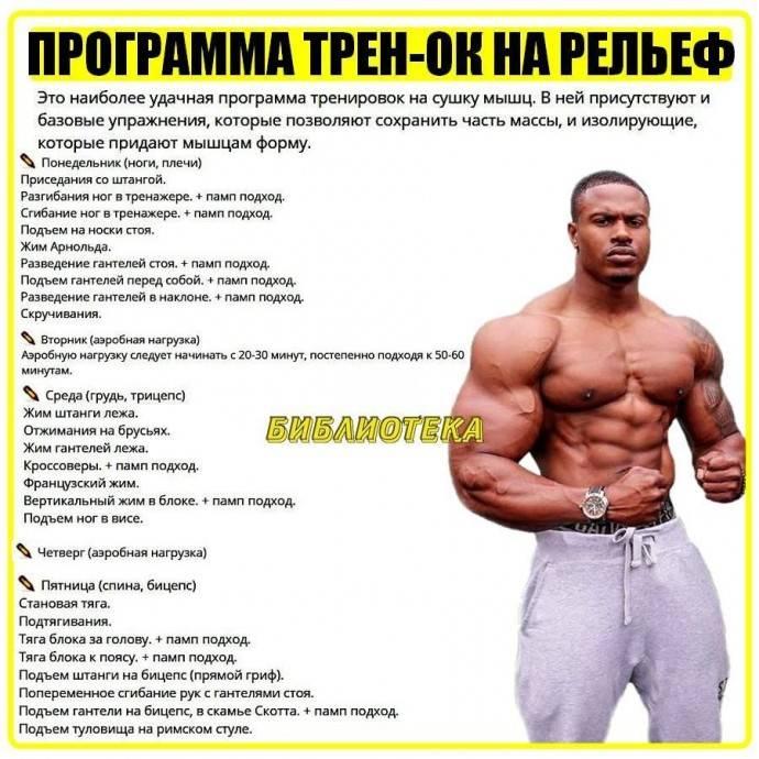Сушка тела для мужчин в домашних условиях: питание и программа тренировок для рельефа мышц
