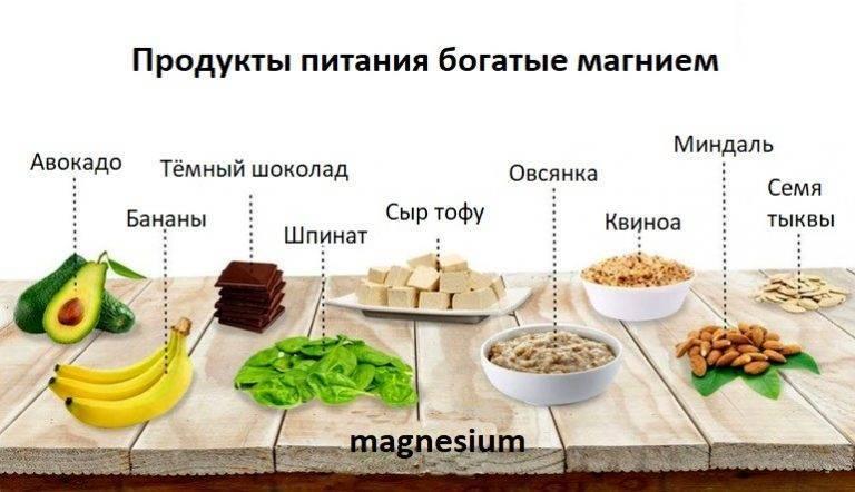 Продукты, содержащие большое количество магния mg
