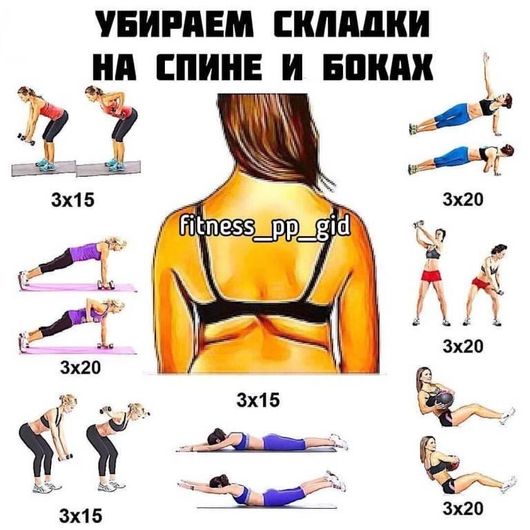 Как убрать жир со спины у женщин: упражнения от жира на спине