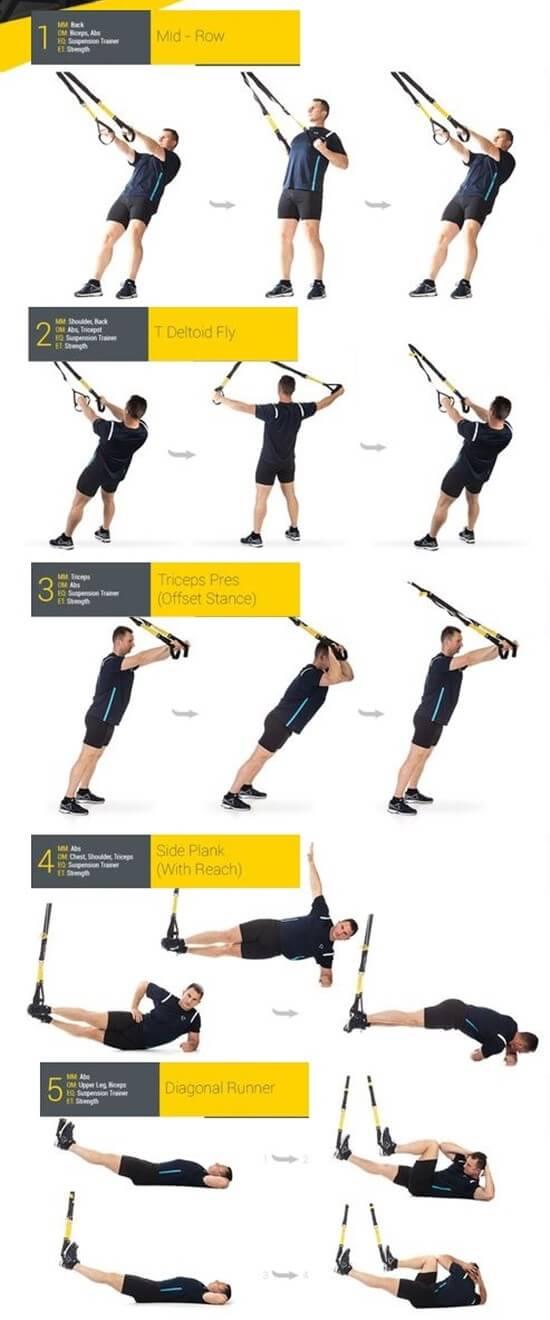 Упражнения с trx петлями для занятий дома или в тренажером зале