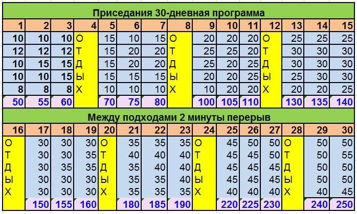 Программа приседаний на 30 дней для женщин и мужчин