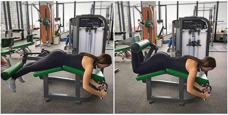 Упражнения на бицепс бедра в тренажерном зале и дома