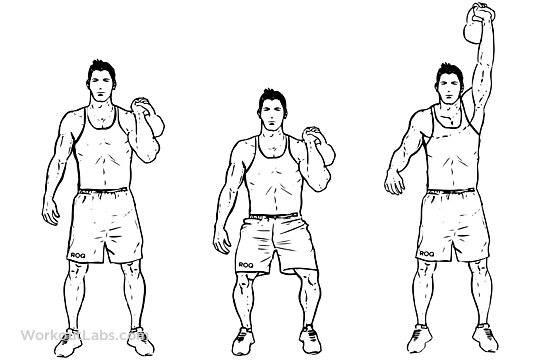 Как правильно делать толчок гири одной рукой