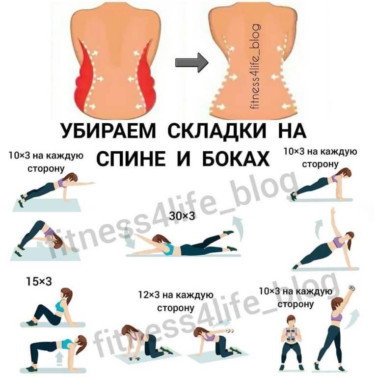 Как убрать складки на спине в короткие сроки, упражнения дома: жировые, на боках, под лопатками, быстро избавиться, видео