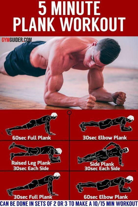Планка: сколько сжигает калорий за 1 минуту, комплекс упражнения 5 минут каждый день