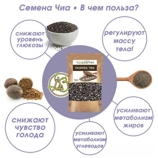 Чиа для похудения: состав и калорийность семян, полезные свойства, правила диеты, примерное меню, рецепты