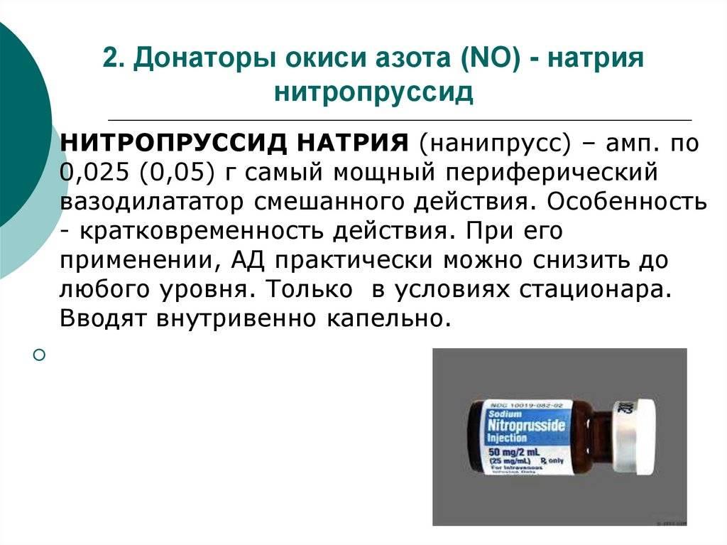 No – препараты (вазолизаторы или донаторы азота)
