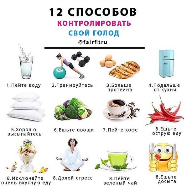 Как утолить голод при похудении. рабочая стратегия из 8 шагов: как наедаться на похудении с пониженной калорийностью?