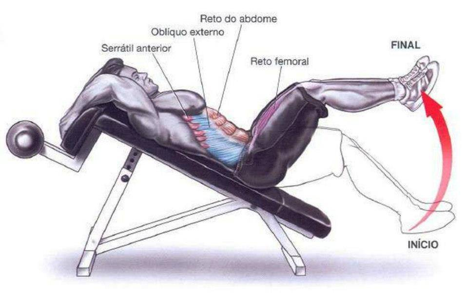 Подъем ног на скамье лежа
