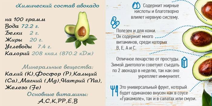 Авокадо: польза и вред для организма, калорийность, состав