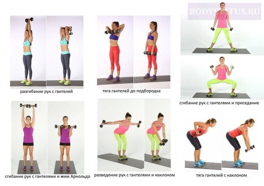 Упражнения с гантелями для женщин в домашних условиях, комплексы упражнений для проблемных участков тела