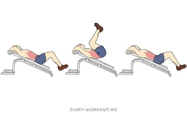 Обратные скручивания: техника выполнения на пресс лежа на полу и скамье