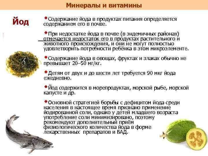 Йод в организме человека: роль, норма йода, недостаток и избыток, продукты питания