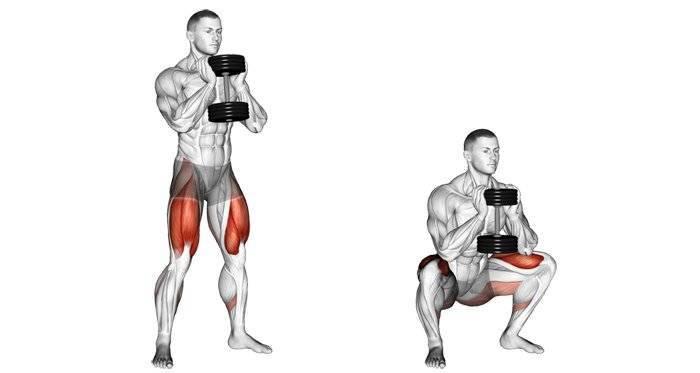 Приседания с гантелями для мышц ягодиц и ног для мужчин и девушек