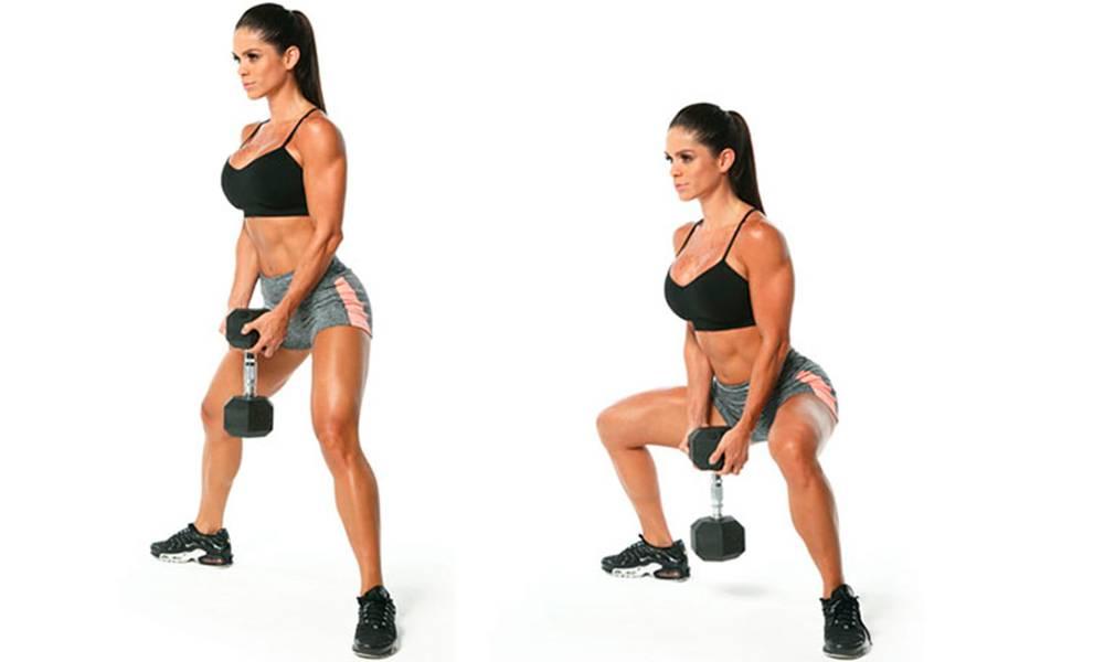Приседания с гирей в гоблет или плие, кубковый присед и упражнение сумо для девушек. польза таких тренировок для ягодичных и мышц и ног